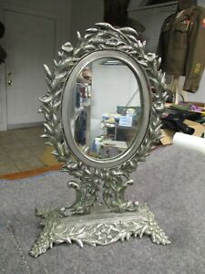 Vintage Antique Mirror With Decorative Nickel Plated Brass Stand
