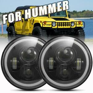 2x Cree 7 96w Led Headlight High Low Halo Signal Drl For Hummer H1 H2 H3 H4 H13