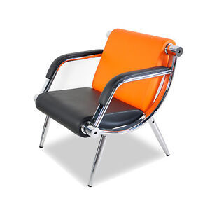 Orange Pu Leather Office Reception Chair Waiting Room Visitor Guest Sofa Seat