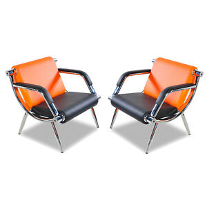 2pcs Modern Office Reception Waiting Chair Visitor Guest Sofa Pu Leather Orange