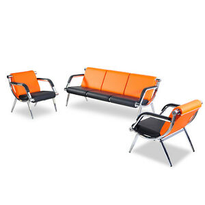 Pu Leather Office Chair Reception Set Waiting Room Bench Visitor Guest Sofa 3pcs