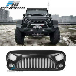 Fits 07 18 Jeep Wrangler Jk Jku Front Bumper Grille V2 Topfire Angry Bird Style