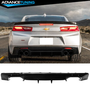 Fits 16 19 Chevy Camaro Rear Bumper Lip Quad Diffuser Glossy Black