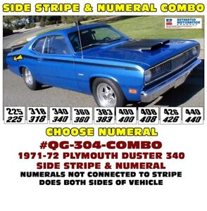 Qg 304 Combo 1971 72 Plymouth Duster Side Stripe Numeal Choice Licensed