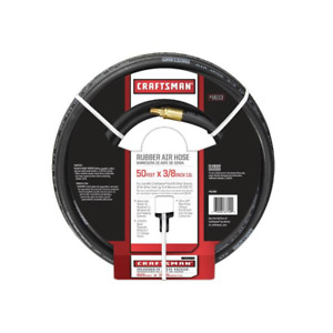 Craftsman 50 Foot 3 8 Inch Rubber Air Hose With 1 4 Inch Brass Male Fittings