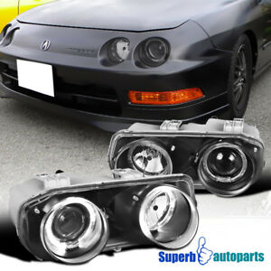 For 1994 1997 Acura Integra Replacement Black Dual Halo Projector Headlights