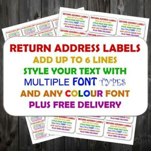 Personalised Self Adhesive Sticky Pre Printed Mini Return Address Labels