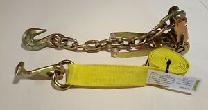 4 Yellow T Hook Ratchet Straps Car Hauler Tow Flatbed Trailer Tie Down