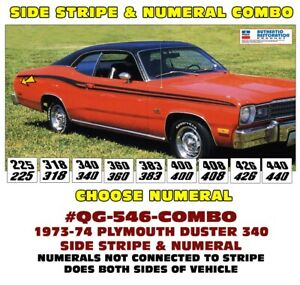 Qg 546 Combo 1973 74 Plymouth Duster Side Stripe Numeal Choice Licensed