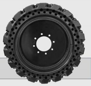 12 No flat Solid Tire Set W rims For Skid Steer Loader Bobcat Gehl John Deere