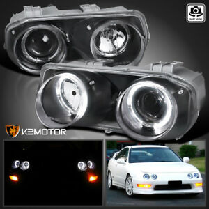 Jdm Black 1994 1997 Acura Integra Halo Projector Headlights Left right
