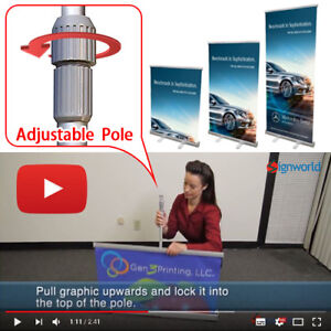 Retractable Roll Up Banner Stands 33 Height Adjustable Trade Show Display 4 Pcs