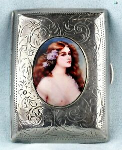 Antique 1920 British Art Deco Erotic W H H Silver Enamel Cigarette Case