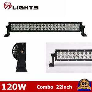 22 Inch 120w Led Work Light Bar Offroad Spot Flood Off Road For Jeep Truck Ford