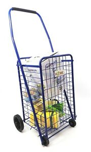 Folding Shopping Cart For Grocery Blue Cart Size 36 X 14 X 11 5 Inches