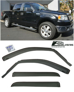 For 04 08 Ford F150 Crew Cab In channel Style Side Window Visors Rain Deflectors