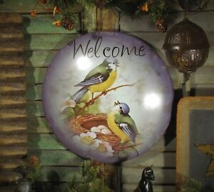 Primitive Antique Vtg Style Welcome Birdie Nest Eggs Spring Dome Metal Tin Sign