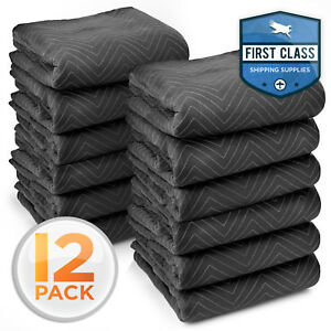 12 Moving Blankets Furniture Pads Ultra Thick Pro 80 X 72 Black