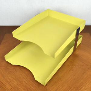 Vtg Mid Century Industrial Metal Yellow Chrome File Holder Office Mail Organizer