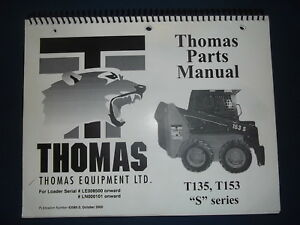 Thomas T135 T153 S Series Skid Steer Loader Parts Manual Book Catalog