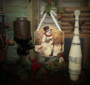 Primitive Vtg Style Retro Christmas Winter Welcome Snowman Sign Wall Hanger