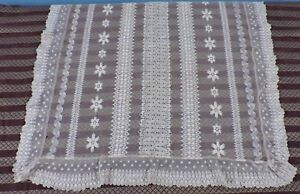 Antique Hand Made Mid 19th C Lace Pillow Sham Pair