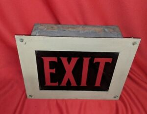 Antique Vintage 1920 S Art Deco Era Theater Glass Panel Exit Sign Light Fixture
