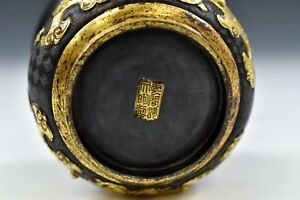 A Rare And Important Chinese Ming Dynasty Gilt Bronze Censer Hu Wenming Mark