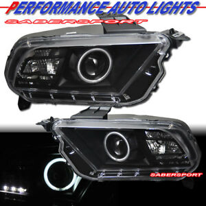 Pair Black Ccfl Halo Projector Headlights halogen For 2010 2013 Ford Mustang