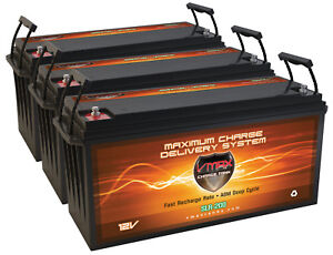 Qty 3 Slr200 Solar Wind Power Backup 600ah At 12v Deep Cycle Vmax Agm Battery