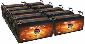 Qty10 Vmax 12v Slr200 Solar Wind Backup Agm Battery Deep Cycle 2000ah 12v