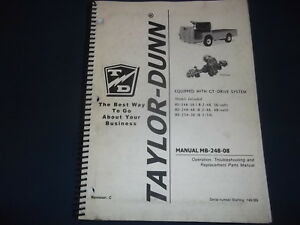 Taylor Dunn Bo 248 36 48 Bo 254 Truck Parts Operation Maintenance Manual Book