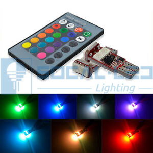 2x T10 194 Led Bulbs 5050 Rgb Multi color Remote Control Dome map license Light