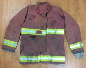 Firefighter Red Bunker Turnout Jacket 42 X 33 Quest