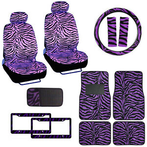 Purple Zebra Print Car Truck Front Seat Covers Floor Mats Steering Wheel Cover
