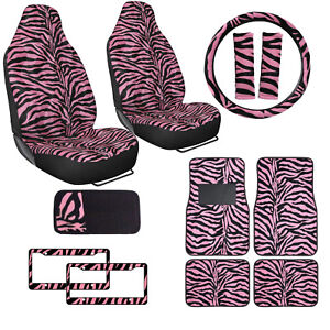 Safari Pink Zebra Print Car Truck Seat Covers Floor Mats Steering Wheel Cover