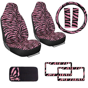 Safari Pink Zebra Print Car Truck Seat Covers Steering Wheel Cover Cd Visor