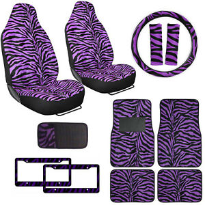 Safari Purple Zebra Print Car Truck Seat Covers Floor Mats Steering Wheel Cover