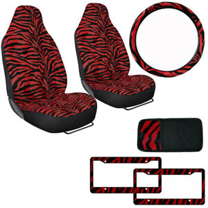 Safari Red Zebra Print Car Truck Front Seat Covers Steering Wheel Cover Set