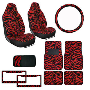Safari Red Zebra Print Car Truck Seat Covers Floor Mats Steering Wheel Cover Set