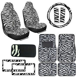 Safari White Zebra Print Car Truck Seat Covers Floor Mats Steering Wheel Cover