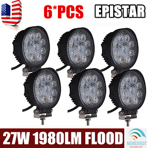6x 27w Flood Led Work Light Bar Offroad Boat Car Tractor Truck Ute 12v 24v Round