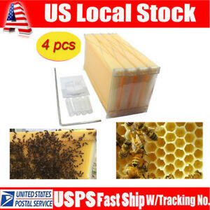 4 Pcs Automatic Honey Bee Hive Beehive Raw Honey Beekeeping Hive Frames Us Stock