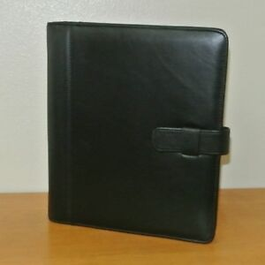 Day timer Monarch folio Black Leather 75 Planner Binder Organizer
