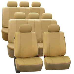 3 Row Car Seat Covers Faux Leather Luxury Beige For Van Suv