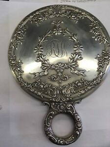 Antique Hand Mirror Sterling Silver Ornate Floral Pattern A Beauty