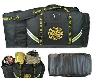 Firefighter Bag With Helmet Pocket Turnout Fire Gear Holder Fireman Rescue Black