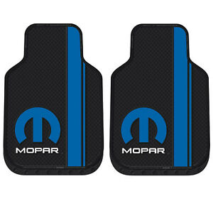 New 2pc Blue Mopar Car Truck Front All Weather Heavy Duty Rubber Floor Mats Set