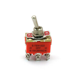 10 Pcs On off on 3 Position Dpdt Toggle Switch Ac 250v 15a Amps E ten1322