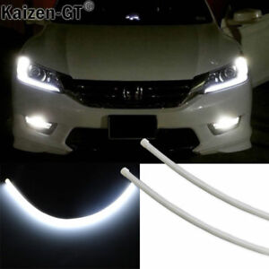 White Illuminating Led Drl Strip Headlight Retrofit For 13 15 Honda Accord Sedan